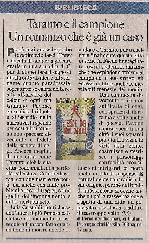 L'eroe dei due mari sul Corriere dello Sport (23 novembre 2010)