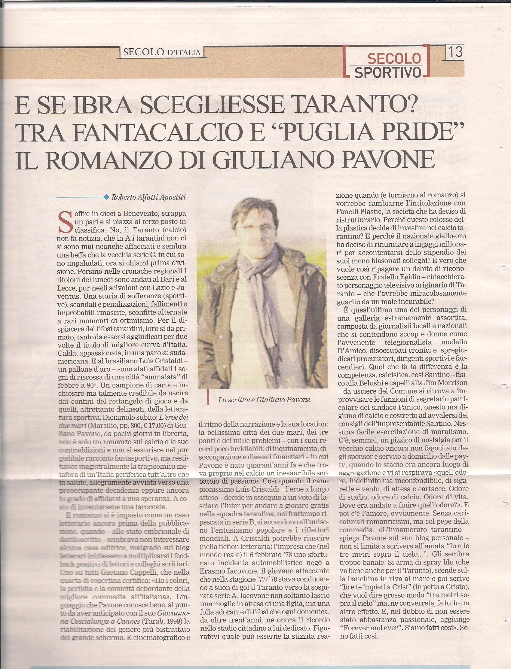 L'eroe dei due mari sul Secolo d'Italia (19 ottobre 2010)