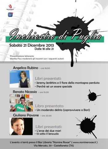 Sabato 21 dicembre presentazione a Castellaneta (Inchiostro di Puglia)