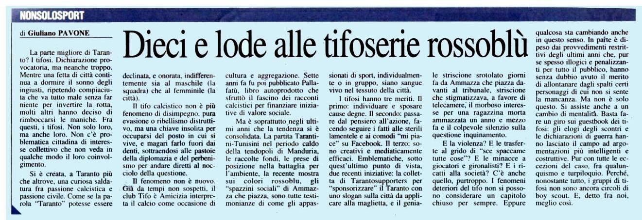 La parte migliore di Taranto sul Quotidiano