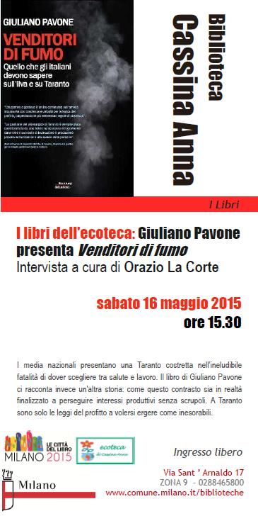 Venditori di fumo sabato 16 maggio alla Biblioteca Cassina Anna di Milano