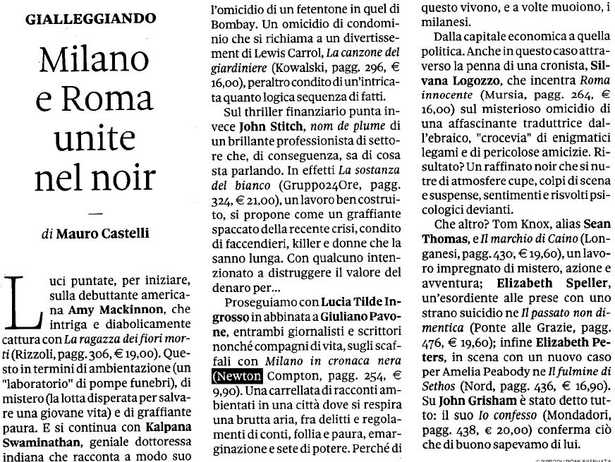 Milano in cronaca nera su Il Sole 24 Ore e Libriconsigliati