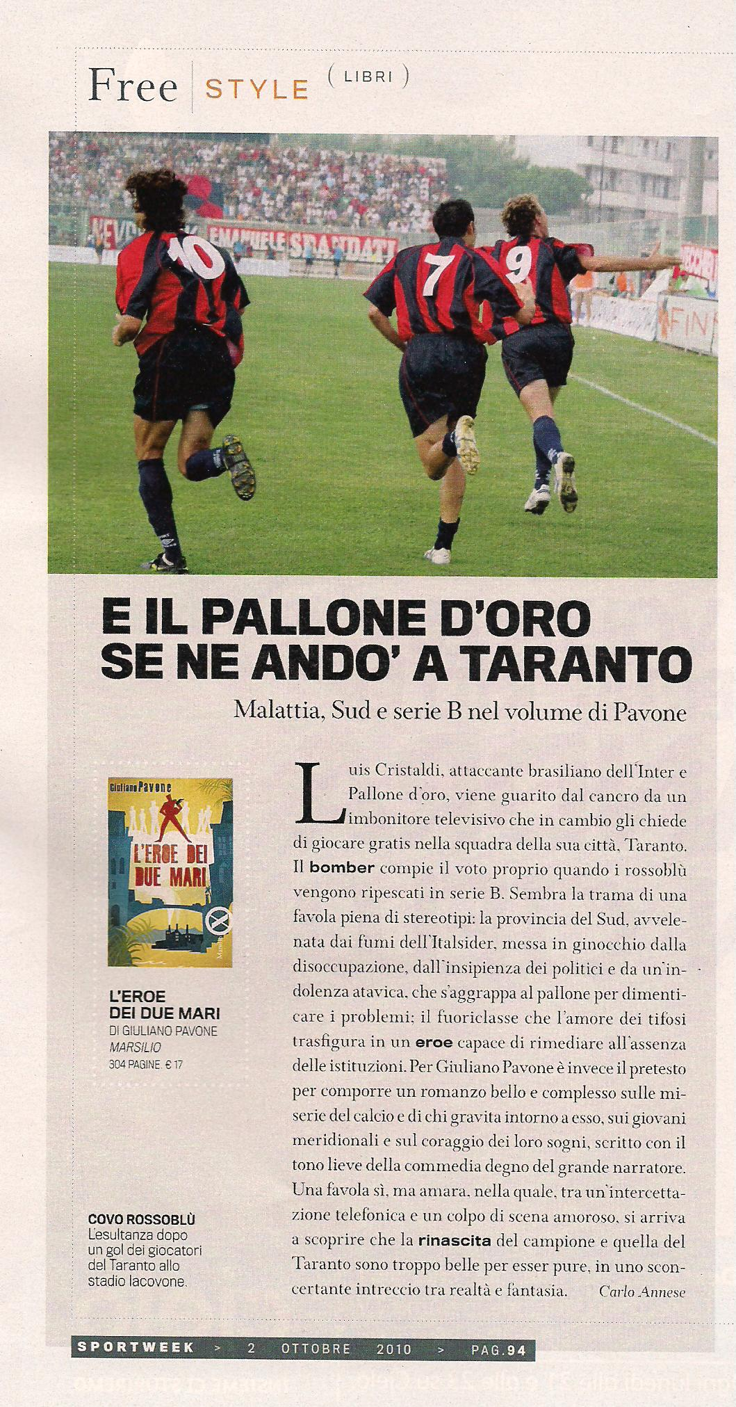 L'eroe dei due mari su SportWeek (La Gazzetta dello Sport), 2 ottobre 2010